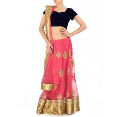 #ExclusivelyEOSS Embellished Pink Lengha Set with Blue Velvet Blouse