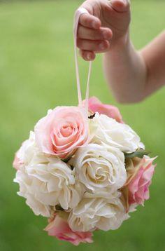 blush and ivory mint pomander for flower girls