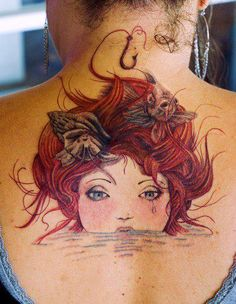 Redhead girl ♥ #tattoo #girl
