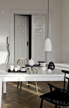 crisp black and white interior