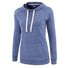 HARBETH Women Fashion Cotton/Poly Vintage Soft Fleece Long Sleeve Hoodies Sweats Blue Melange L