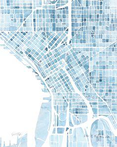 Map Seattle Washington Blueprint Art Print