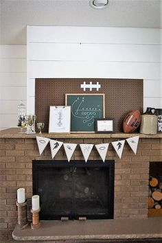 The first sign of fall around this house is my hubby's fantasy football draft! He is in a few leagues, but for the last couple of years he has hosted at least one of the drafts at our house. Football Fever, Fall Football, Giants Football, Football Banquet, Football Room Decor, Fantasy Football League, Cool Slogans, Vintage Football, Ship Lap Walls