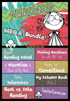 Metacognition Reading Mega Bundle.  Coordinated with Tanny Gregory's Comprehension Connections.TeacherKarma.com #metacognition #comprehension