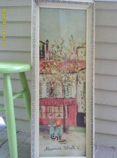 Vintage Framed Print by Maurice Utrillo / Framed Rectangular Impressionist Print / Montmartre Print
