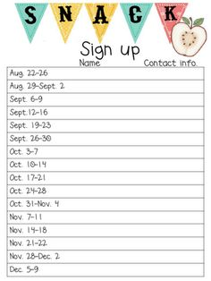 Printable Snack SignUp Sheets  TballSoftball