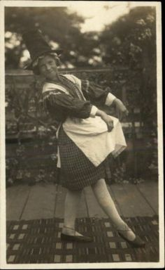Little Welsh Girl Hat Dress Curtsy or Dancing Real Photo Postcard