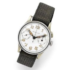 H. Moser & Cie. A chrome and stainless steel manual wind single button chronograph wristwatch Case No.111983, Circa 1950