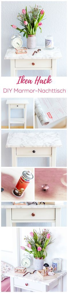 IKEA Hack: Marmortisch selbstgemacht - Blush Affair DIY Hemnes Marble Rosegold Interior NAchttisch