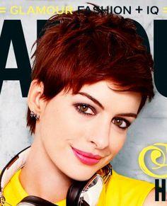 Anne Hathaway's pixie cut.