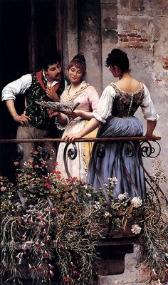 The Athenaeum -  On The Balcony Eugene de Blaas - 1889 Painting - oil on canvas