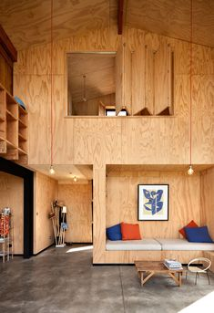 6 Built-In Lounges Interior Architecture, Interior And Exterior, Plywood Interior, Plywood Walls, Cabin Design, House In The Woods, Small Spaces, Building A House, House Plans