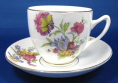 Duchess Wild Flower Cup and Saucer English Bone China Mid Century 1950 – Antiques And Teacups