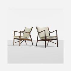 Finn Juhl / rare lounge chairs model NV-45, pair