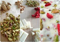 Chop pistachios and strawberries (if necessary). Break chocolate into small square or cut into chunks and melt in double-boiler or microwave. Stir in pistachios and strawberries (reserving some) and pour mixture into a lined pan. Spread out and flatten with a spatula. Sprinkle remaining pistachios and strawberries on top. Keep in fridge until thoroughly chilled, then break or cut into pieces.
