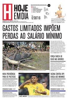 Capa do dia 12/10/2016 #HojeEmDia #Jornal #Notícias #News #Newspaper
