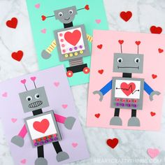 Kids can give to their mom, dad, grandparents or friends. in this post, learn how to make this cute robot valentine craft with our helpful template, Valentines Robots, Kinder Valentines, Homemade Valentines Day Cards, Valentine Crafts For Kids, Valentine Ideas, Saint Valentine, Valentines Bricolage, Valentine's Cards For Kids, Valentine's Day Crafts For Kids