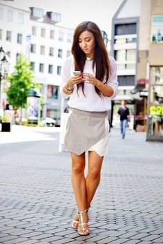 White on Grey, Strappy Sandals, Pretty about town. LB