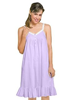 This sleeveless nightgown is a summer night s dream! Features a flattering  V-neck with lace and ribbon trim and soft pin tucking below 6e6c0dc95