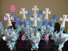6 Boy Baptism Centerpieces