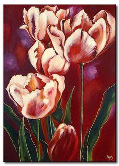 Obrazy z kwiatami to idealna dekoracja do salonu lub sypialni! Romantyczne tulipany są wręcz stworzone dla romantycznej, kobiecej marsali. Cudownie elegancki obraz! #colouroftheyear #pantone #marsala #2015