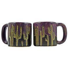 Set of 2 Mara Stoneware 16-oz Cactus Mugs (Mexico)