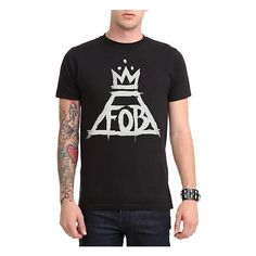Fall Out Boy Crown Logo T-Shirt Hot Topic ($21) ❤ liked on Polyvore featuring tops, t-shirts, logo tops, logo t shirts and logo tee