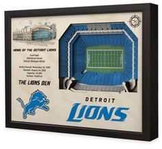 $199.99 - NFL Detroit Lions Stadium Views Wall Art - Complement your sports room, man cave, or office with the officially licensed NFL Stadium Views Wall Art. Ideal for any alumnus, this wall art features a flawless, laser-cut, 3D wooden reconstruction of the Ford Field