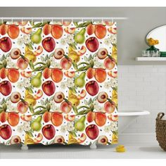 french country bathrooms with marble floors Peach Shower Curtain, Apricot Blossom, Country Bathrooms, Harvest Time, Marble Floor, Bathroom Sets, Pears, Blossoms, Curtains