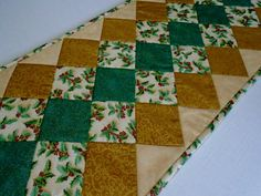 Elegant Quilted Christmas Table Runner, Winter Quilted Table Runner, Quilted Table Runner in Gold and Teal, Holly Berries by ForgetMeNotQuilteds on Etsy