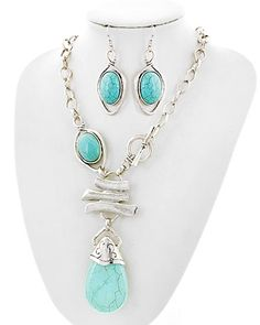 Burnished Silver Tone / Turquoise Stone / Lead&nickel Compliant / Y-neck / Necklace & Fish Hook Earring Set