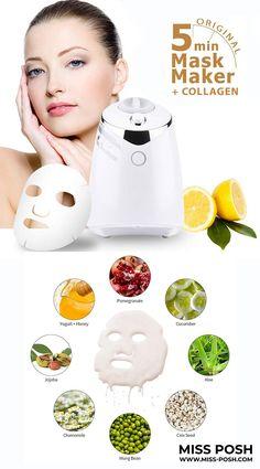 Fruit Face Mask Maker Machine + Collagen www.Miss-Posh.com ✨ Free Delivery Worldwide 📦🚚 Professional Hair Straightener, Hair Brush Straightener, Beauty Ring Light, Collagen Pills, Shrink Pores, Remove Acne, Facial Treatment, Skin Elasticity, Skin Tightening