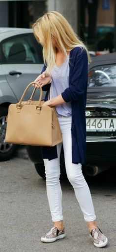 "street style. white jeans. navy cardigan. nude bag. Love this casual look as a ""mommy uniform"""