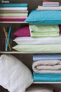 16.) Helpful closet storage tip: Keep your sheet sets organized by storing each set in the relevant pillow case. #organizedliving #organizedcloset