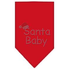Santa Baby Rhinestone Bandana Red Small