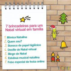 Para todo mundo que vai fazer um Natal Virtual, como eu, bóra dar um jeito de ser muito divertido? A gente fez um vídeo para o nosso canal do youtube com 7 brincadeiras que você pode fazer para um Natal Online! Fez, Youtube, Christmas Bingo, Paper Puppets, Pranks, Diy Creative Ideas, World, Home, Hilarious