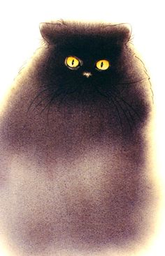 """Watercolor by Sherry Bryant, """"Boo, black cat""""."""