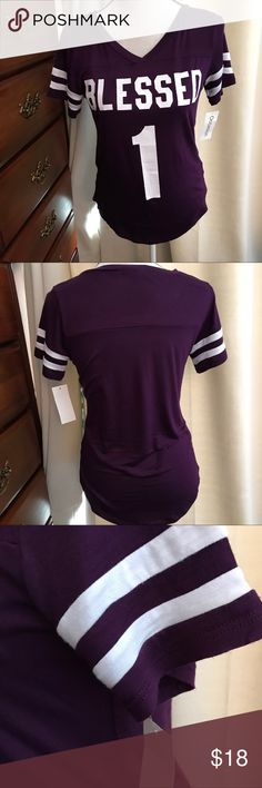 "Purple Blessed 1 Super soft t-shirt.     Pretty purple.  Size M. These look a tad small but they stretch.  Armpit to armpit is 17"", waist 17"" & length 26"" long.  Occasion Tops Tees - Short Sleeve"