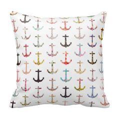 Vintage retro sailor girly floral nautical anchors pillows