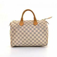 Louis Vuitton Speedy 30 White Damier Azur Canvas City Hand Bag