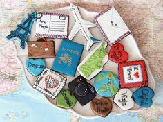 Of The Best Traveler Gift Ideas Besides Actual Plane Tickets - Cookies Iced Cookies, Cute Cookies, Royal Icing Cookies, Cupcake Cookies, Sugar Cookies, Travel Cake, Travel Party, Travel Gifts, Mini Tortillas