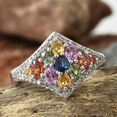 Multi Sapphire, Diamond Platinum Over Sterling Silver Cluster Ring (Size TDiaWt cts, TGW cts. Sapphire Jewelry, Sapphire Gemstone, Cluster Ring, Sterling Silver Rings, Sparkle, Gemstones, Diamond, Sterling Silver Thumb Rings, Gems
