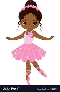 Illustration of Vector cute little African American ballerina dancing. Vector ballerina girl in pink tutu dress. African American ballerina vector illustration vector art, clipart and stock vectors. Ballerina Kunst, Black Ballerina, Ballerina Dancing, Little Ballerina, Black Girl Art, Black Women Art, Art Girl, Free To Use Images, Cute Cartoon