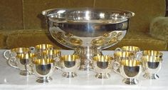 Vintage Mid Century Modern Silver Plate Punch Bowl Set with 12