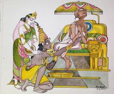 Krishna for today: Sudama. Krishna Painting, Madhubani Painting, Krishna Sudama, Pagan Gods, Lord Krishna Images, Hindu Deities, Hinduism, Indian Folk Art, Hindu Art