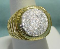 Men's 2CT Gold & Diamond Ring in Heavy 18K Yellow Gold, Genuine & High Quality!