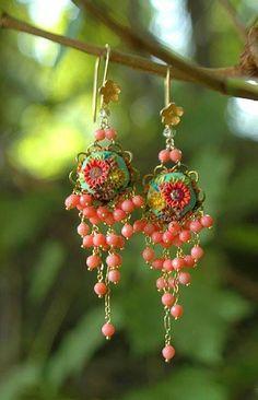 bright sunshiney day sweet dangle earrings by jennifermorrisbeads Beaded Earrings, Beaded Jewelry, Jewelry Box, Vintage Jewelry, Handmade Jewelry, Jewelry Making, Green Earrings, Flower Earrings, Gold Jewelry