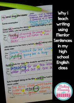 Why I Teach Writing Using Mentor Sentences in my High School English Classroom