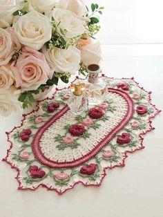 Crochet Pattern Only Romantic Rose Parade Doily Pattern Valentine Crochet World, Crochet Home, Irish Crochet, Crochet Crafts, Yarn Crafts, Crochet Projects, Free Crochet, Crochet Baby, Crochet Dollies