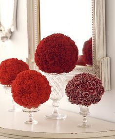 Flower ball with white vase, several different heights would be pretty